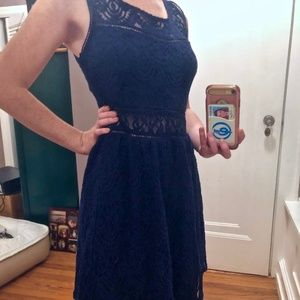 Navy Lace Detail Sleeveless Dress (9J)